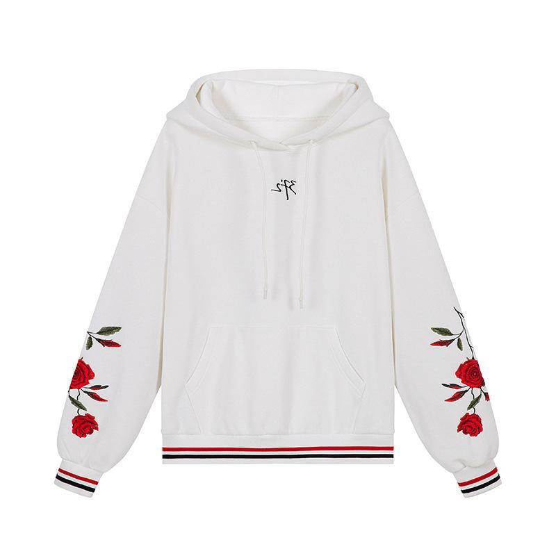 Falling Rose White Flying Aesthetic Warm Wool Inside Cool Hoodie