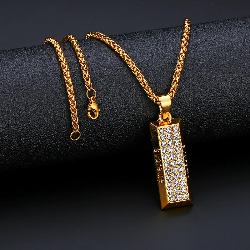 Rapper Iced Out Gold Brick Pendant