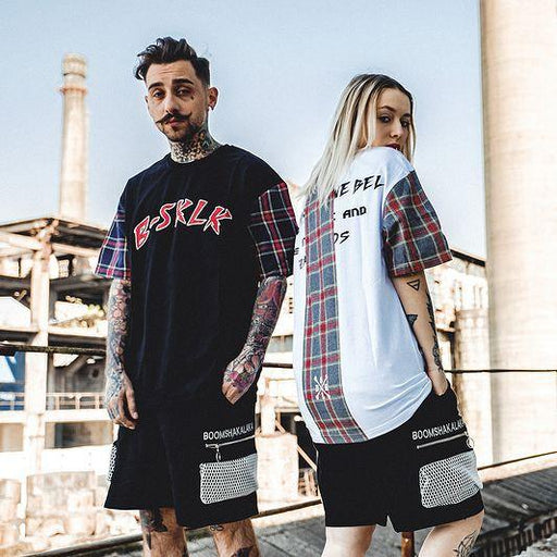 Grid Oversized Couple Tee