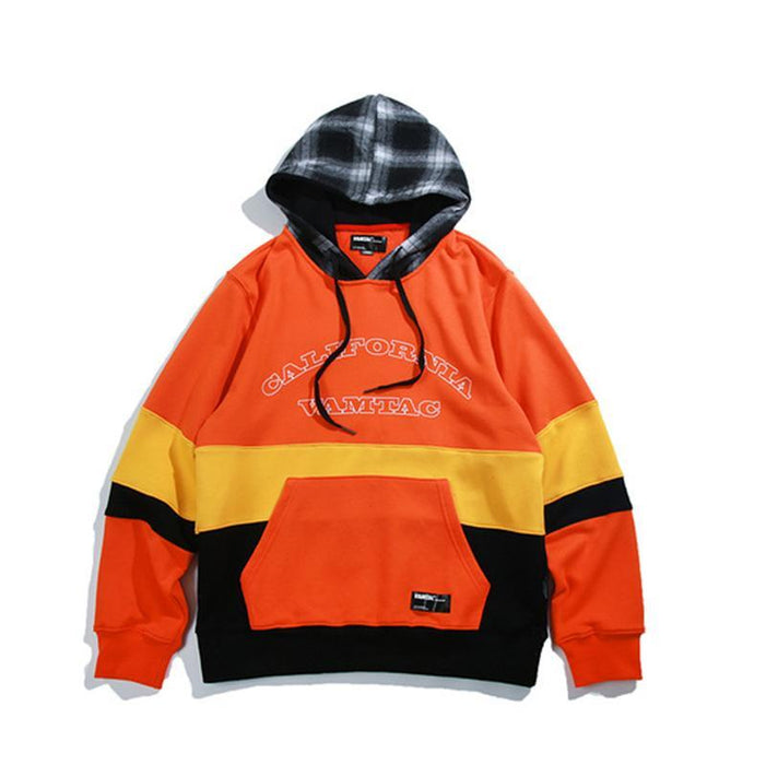 Kpop Color Block Purple Rap Orange Couple Boyfriend Hoodie