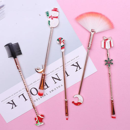 Christmas Deer Kawaii Pink Pastel Make Up Brush Set