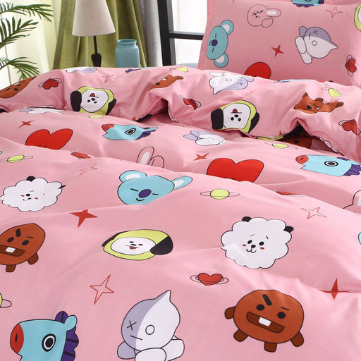BTS Cartoon Bed Sheets