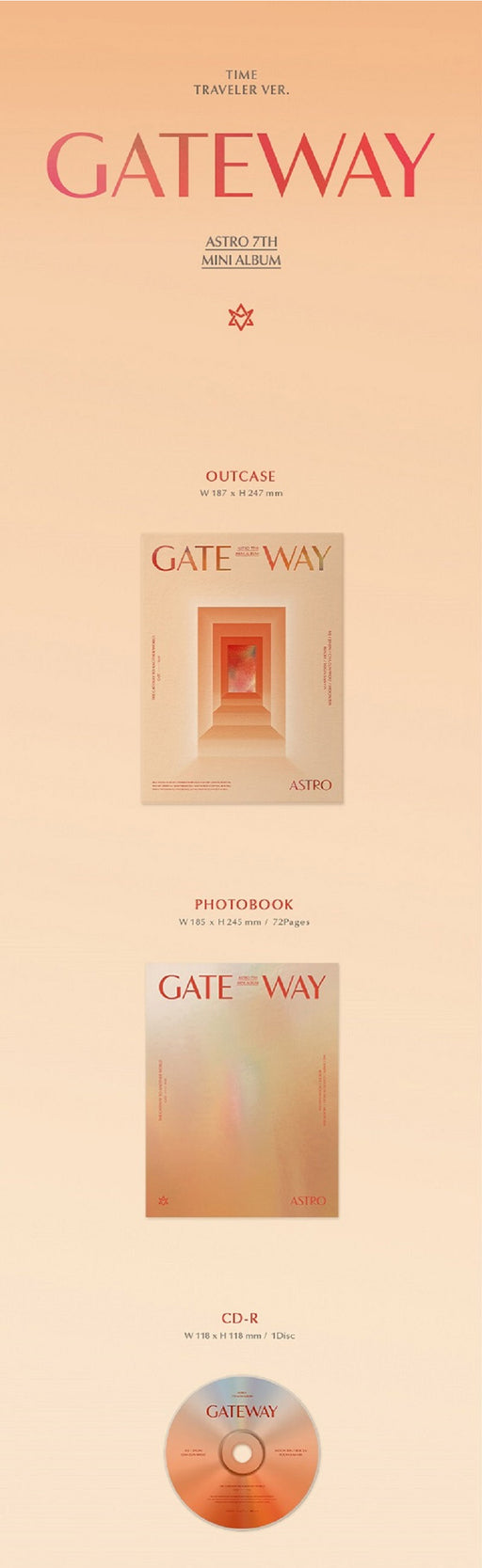 ASTRO 7th Mini Album - GATEWAY (TIME TRAVELER Ver.) CD + Poster