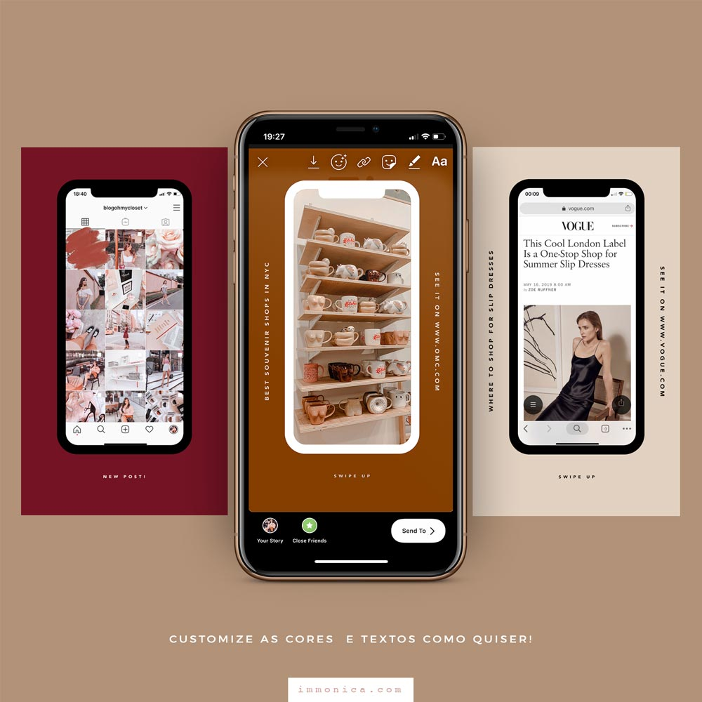 Mockup Linear de Smartphone Para Instagram Stories