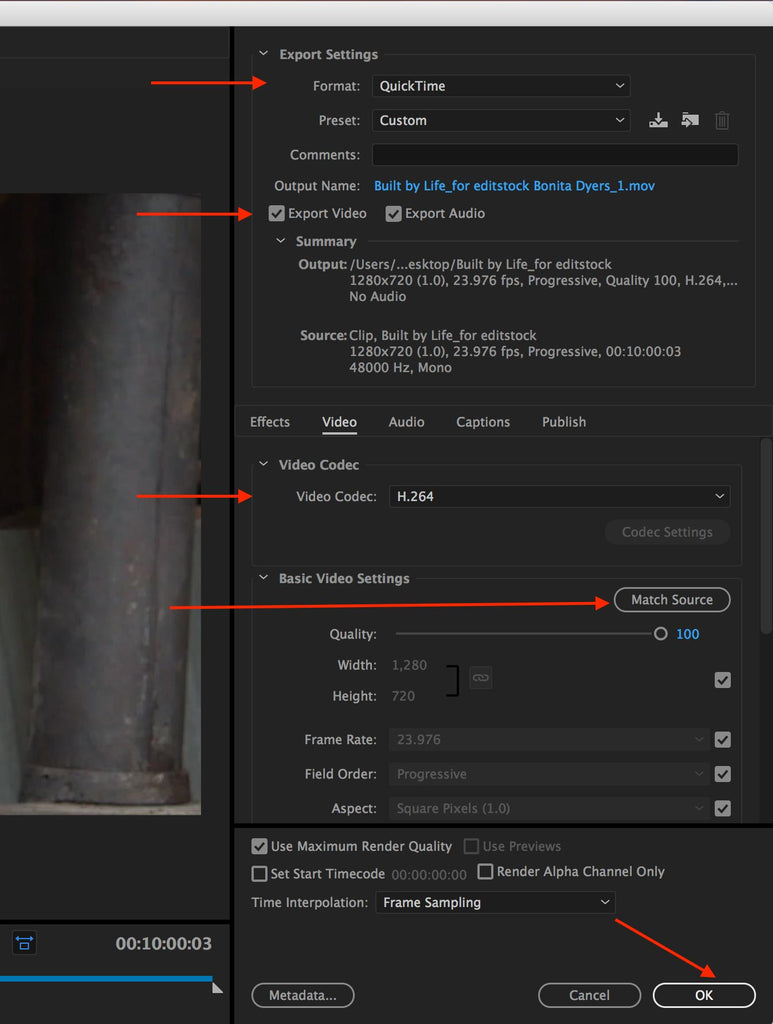Adobe Media Encoder Settings