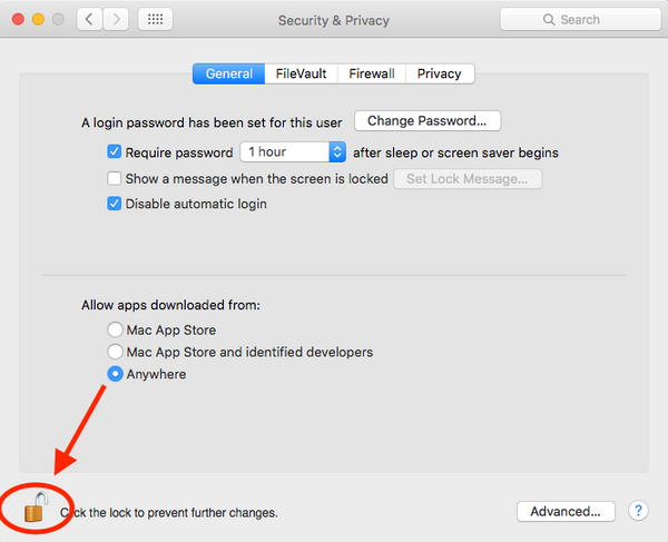 Apple Security Preferences