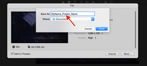 Name file in iMovie Share
