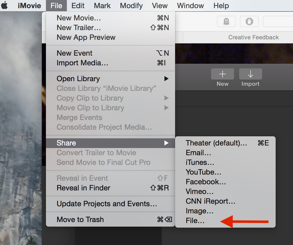 Share file in iMovie