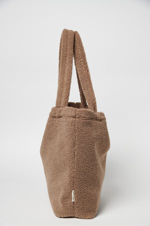 Brown chunky teddy mom-bag