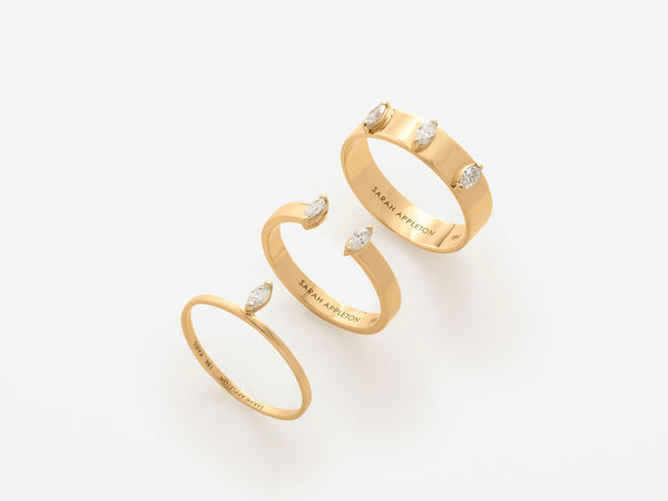 Navette Rings Sarah Appleton fine Jewelry