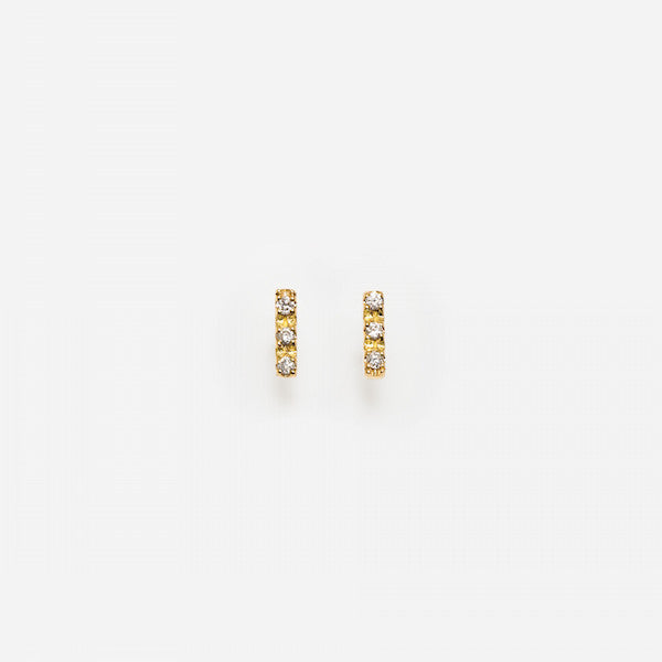 3 Diamond Bar Earrings