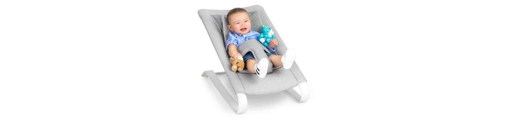 Baby Bouncer Seat grey with toddler snoozing