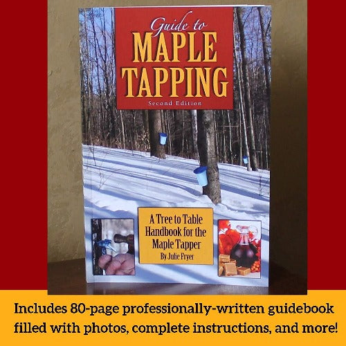 "Maple Tree Tapping Kit – Includes 5/16"" Tree Saver Taps Spiles plus 3-Foot Drop Line Tubes (Pack of 10), and 80 Page Fully Illustrated Guide to Maple Tapping Book, 1 Quart Sap Filters"