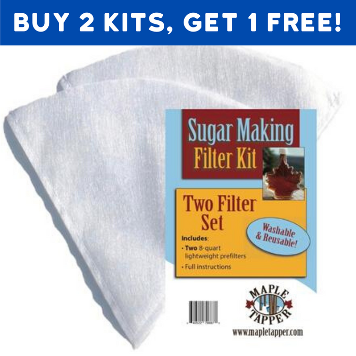 Sugarmaker's Special! Buy 2 Prefilter Kits, Get 1 Free!! REUSABLE 1 Quart Pre-Filter Cones for Home Maple Sugaring