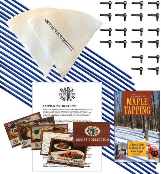 Deluxe Maple Syrup Tree Tapping Kit –(20) Taps +(20) 3-Foot Drop Line Tubes +(2) 1-Quart Sap Filters –Dark Blue Premium Food Grade Tubing - Recipe Cards, Drill Bit, 80 Page Guide to Maple Tapping Book