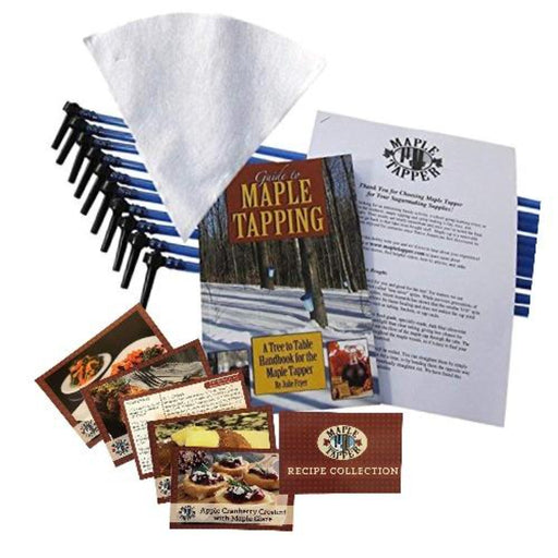 Maple Syrup Tree Tapping Kit + Book – 10 Tree Saver Spiles, 10 Three-Foot Tubes, 1 One-Quart Filter, and Guide to Maple Tapping book.