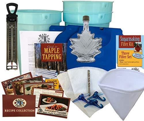 "Ultimate Maple Syrup Tree Tapping Kit – (3) 3-Gallon Buckets w/Integrated Lids and 5/16"" Spiles, (3) 1-Quart Filters, Thermometer, Drill Bit, 250 ml glass bottle; Recipe Cards, 80 Page Guidebook"