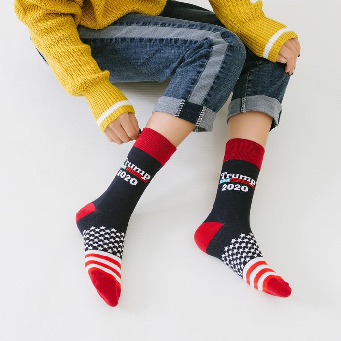 Stitching color America national flag printed socks Trump 2020 soft comfort men cotton sock novelty personality chaussette homme