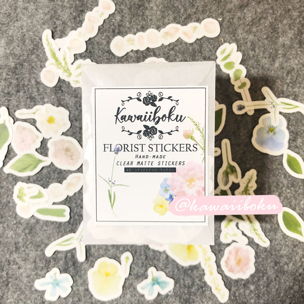 40pcs Florist Clear Stickers