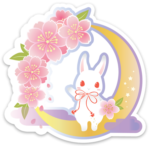 Crescent Blossom Night Sticker