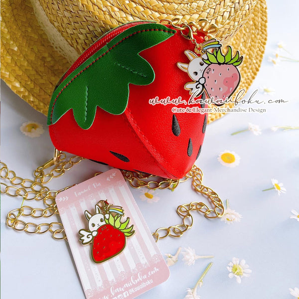 Strawberry Mochi Pin & Bag (options)