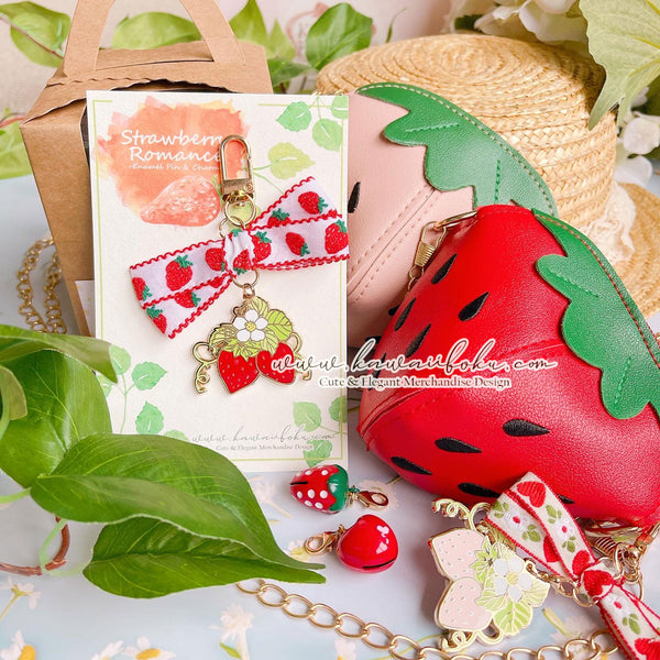 Strawberries Romance Pin & Bag (options)