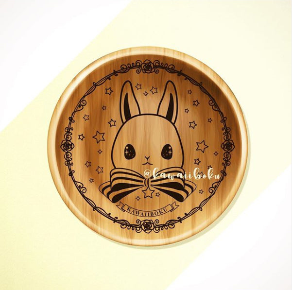 The Foodie Rabbit Wooden Plate