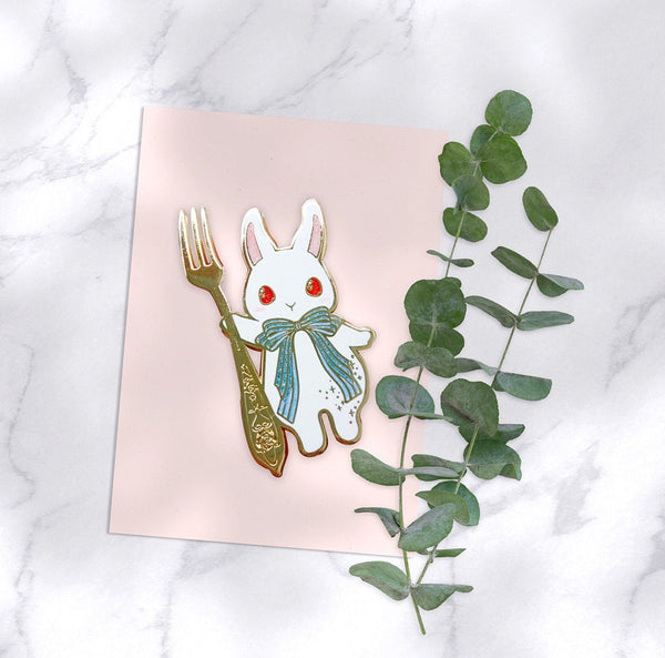 The Foodie Rabbit - Mochi with Fork Pin