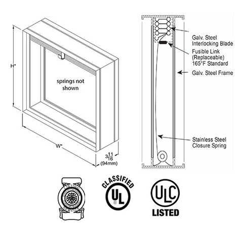 Picture of United Enertech FDD-ALB Dynamic Curtain Fire Damper Horizontal or Vertical Mounting
