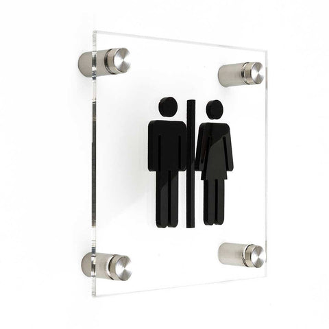 Restroom sign WC Bathroom Signs transparent acrylic and black arylic letters Bsign