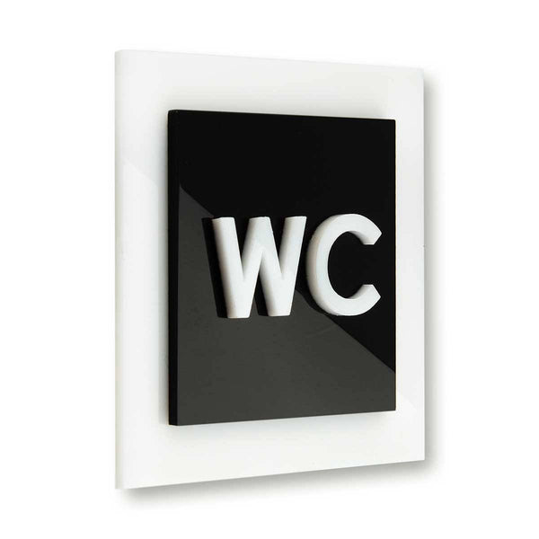 Acrylic Bathroom Sign - WC Bathroom Signs black/white Bsign Bathroom Signs Bsign