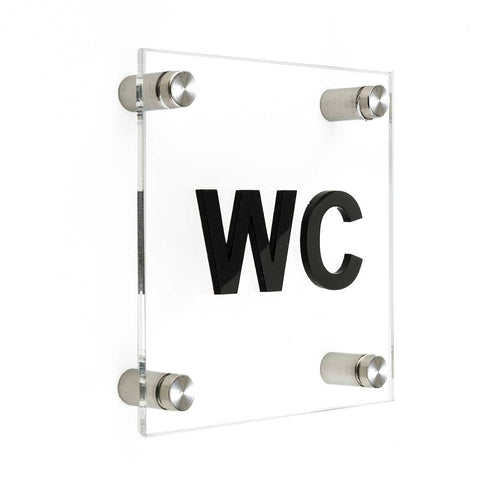 Acrylic Signs for Bathroom - WC Bathroom Signs black symbol Bsign