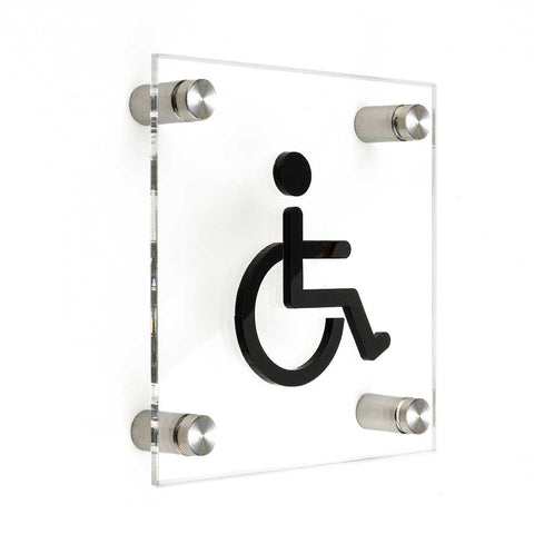 Wheelchairs Sign for Restroom Bathroom Signs transparent acrylic and black arylic letters Bsign