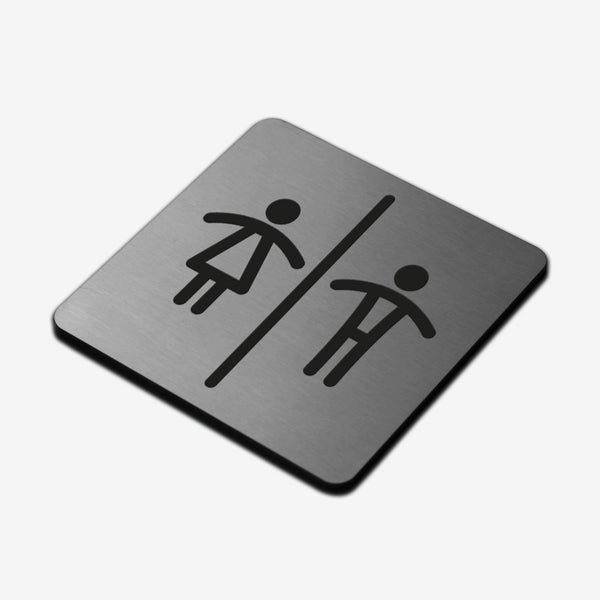 All Gender Signs for Bathroom - Stainless Steel Bathroom Signs square Bsign