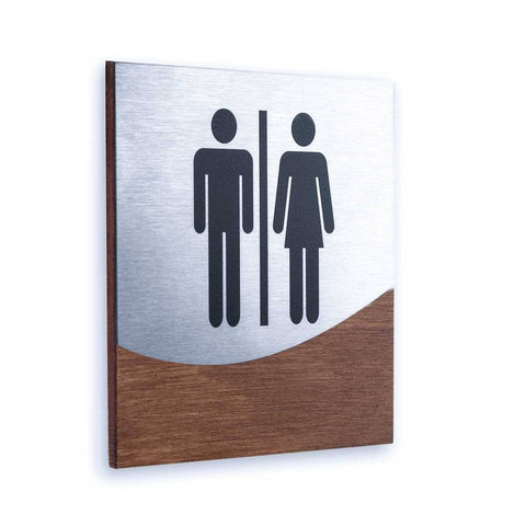 Steel All Gender Bathrooms Signs
