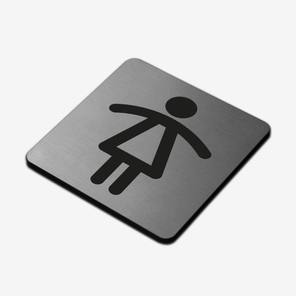 Women Toilet - Stainless Steel Sign Bathroom Signs square Bsign