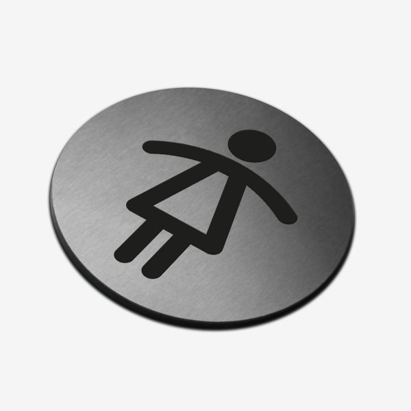 Women Toilet - Stainless Steel Sign Bathroom Signs circle Bsign