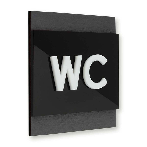 Wood Restroom WC Sign Bathroom Signs Anthracite Gray Bsign