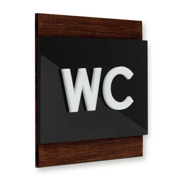 Wood Restroom WC Sign Bathroom Signs Indian Rosewood Bsign