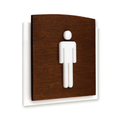 Wood Bathrooms Door Signs for Man