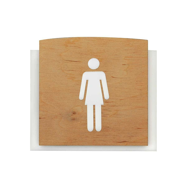 Wooden Restroom Signs for Woman Bathroom Signs Natural wood Bsign