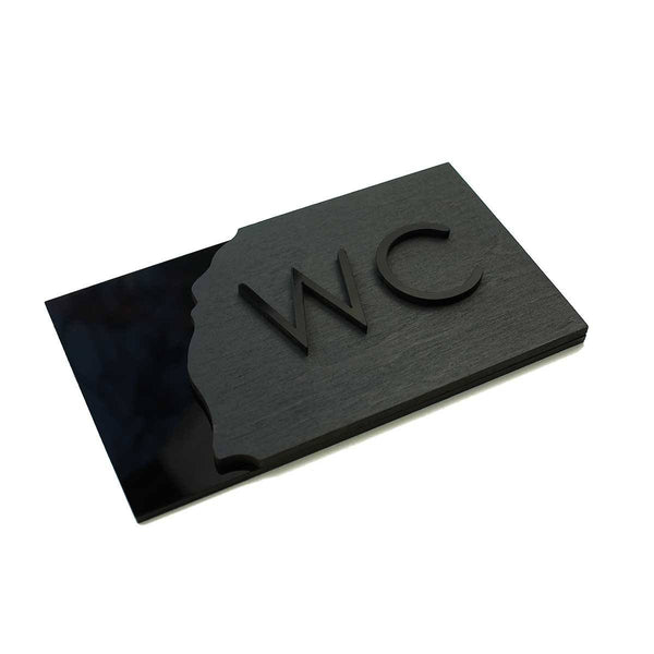 Wood WC Sign for Restroom Bathroom Signs Anthracite Gray Bsign Bathroom Signs Bsign