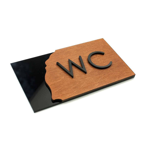 Wood WC Sign for Restroom Bathroom Signs Walhunt Bsign Bathroom Signs Bsign