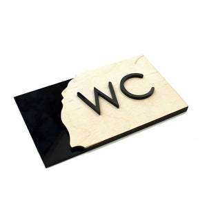 Wood WC Sign for Restroom Bathroom Signs Natural wood Bsign Bathroom Signs Bsign