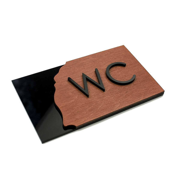 Wood WC Sign for Restroom Bathroom Signs Indian Rosewood Bsign Bathroom Signs Bsign