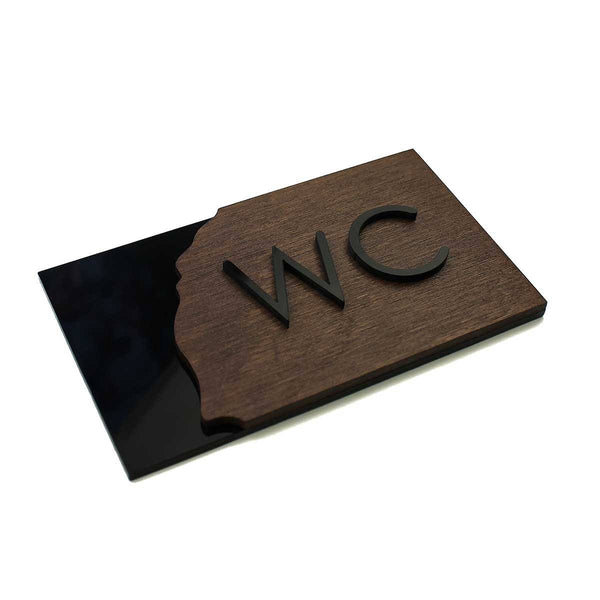 Wood WC Sign for Restroom Bathroom Signs Dark Wenge Bsign Bathroom Signs Bsign