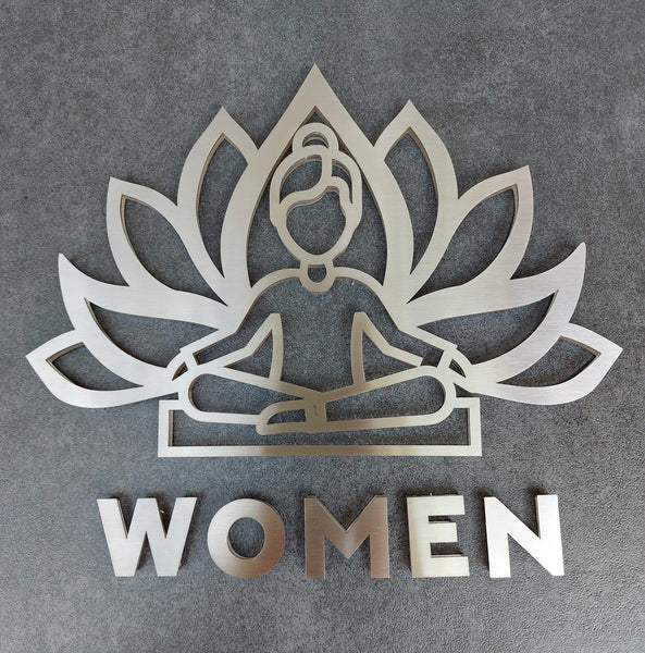Yoga Women Restroom Sign Bathroom Signs clear acrylic glass and stainless steel Bsign