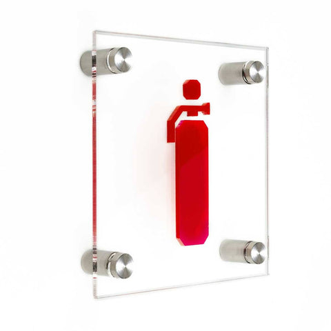 Safety Signs Fire Extinguisher Information signs transparent acrylic / metal holders / screws and dowels Bsign