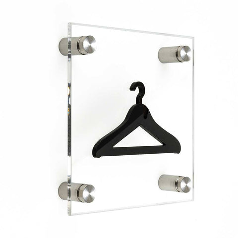Acrylic Wardrobe Signs with Metal Holders Information signs white/black symbol Bsign