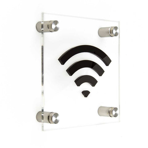 Acrylic Sign Wi-Fi Information signs black symbol Bsign